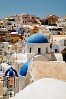 view of Oia at the greek island of Santorini