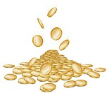 Rain of falling gold money coins on white, vector illustration