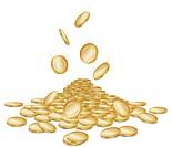 Rain of falling gold money coins on white, vector illustration