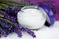 Face cream with lavender on sea salt lat. Lavandula anugustifolia