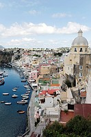Fishing port of Marina di Corricella, Island of Procida, Gulf of Naples, Campania, Southern Italy, Italy, Europe