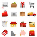 Shopping symbols icon set on white. Image contains gradients_ EPS8.