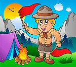 Scout boy with flags outdoor _ color illustration.