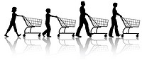 The family that shops together _ mom dad kids push shopping carts.