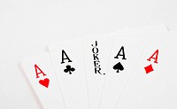 A macro of all the aces and a joker in the middle
