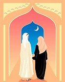 vector illustration of an arabic couple walking toward an open doorway with stars and a crescent moon in eps 10 format with gradients