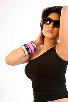 chubby woman with beautiful bangles and sun glasses