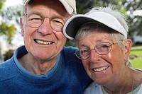 Portrait of a senior couple in a park