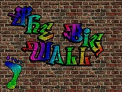 3d render of a Wall painted with graffiti
