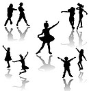 Silhouettes of children at dance