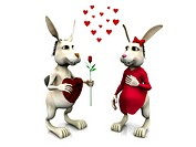 A male rabbit giving a female rabbit a rose and chocolat.