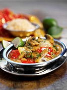 Vegetable curry with peppers and mushrooms India