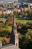 High angle view of the tower of a church and a public park, Arlington Street Church, Boston Common, Boston, Massachusetts, USA