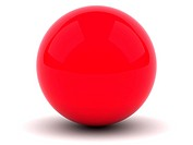 Red sphere isolated on white background with shadow
