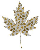 Illustration of a large maple leaf textured with smaller leaves
