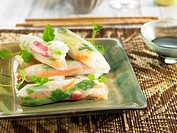 Rice paper rolls with soy sauce Asia