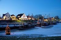 Fishing boats in the harbour, Greetsiel, Krummhoern, East Frisia, Lower Saxony, North Sea, Germany, Europe