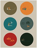 Vector graphic set featuring an adventurous little dog.