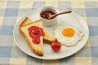 Breakfast,bread,Jam,Tomato,Fried egg