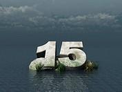 die zahl fünfzehn aus stein auf dem meer _ 3d illustration