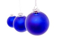 Blue Christmas balls in a row.
