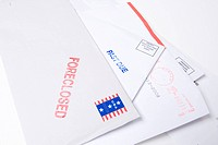 Small group of envelopes marked ´PAST DUE´ and ´FORECLOSED´. Suggesting tough economic times US.