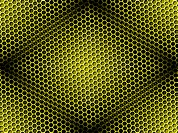 Seamless yellow honeycomb on brown background with light effect.