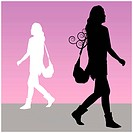 An image of a woman walking with purse.
