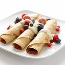Pancake rolls with fresh berries