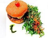 Cheese burger _ American cheese burger with fresh salad