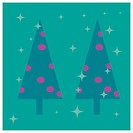 Vector illustration card design of stylized christmas trees