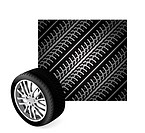 repeating tire tracks vector background illustration with wheel