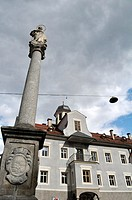 Brunico, Alto Adige, Italy: the Colonna Mariana, along Via Centrale