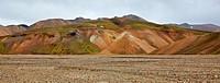 Multicolored rhyolite mountains in Landmannalaugar, Fjallabak Nature Reserve, Iceland