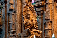 traditional Hindu religion sculpture. Inside of Meenakshi hindu temple in Madurai, South India.