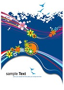 Floral summer blue background. Vector illustration. Invitation card