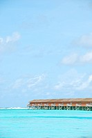 beautiful seascape with water villas in Maldivian Island
