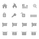 Real estate related icons and symbols