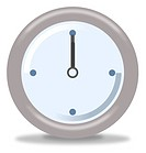Silver and blue clock on white background showing twelve