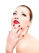 sensuality caucasian young girl with red gloss manicure and sexy lips