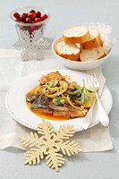 Fried carp with onions and caraway for Christmas