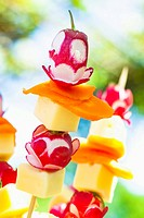 Colourful vegetables and cheese on sticks