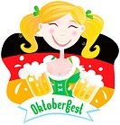 Oktoberfest girl in traditional bavarian clothing on german flag with beer. Vector Illustration.