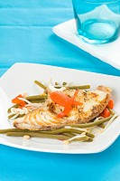 grilled fillet of fish and soy beans isolated