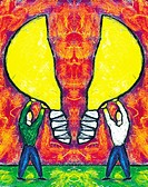Two men holding a light bulb split into two