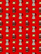 Carafe and mugs of coffee on a red background