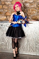 A Steampunk Pinup Model with Pink Hair