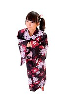 Adorable japanese girl with Yukata, full length portrait isolated on white.