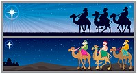 Two Christmas banners with the three wise mn and the Star of Bethlehem. No transparency used. Basic linear gradient used for the sky.