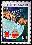 A stamp printed in Vietnam shows spacestation Salut, stamp from series honoring Intercocmos program, circa 1980.